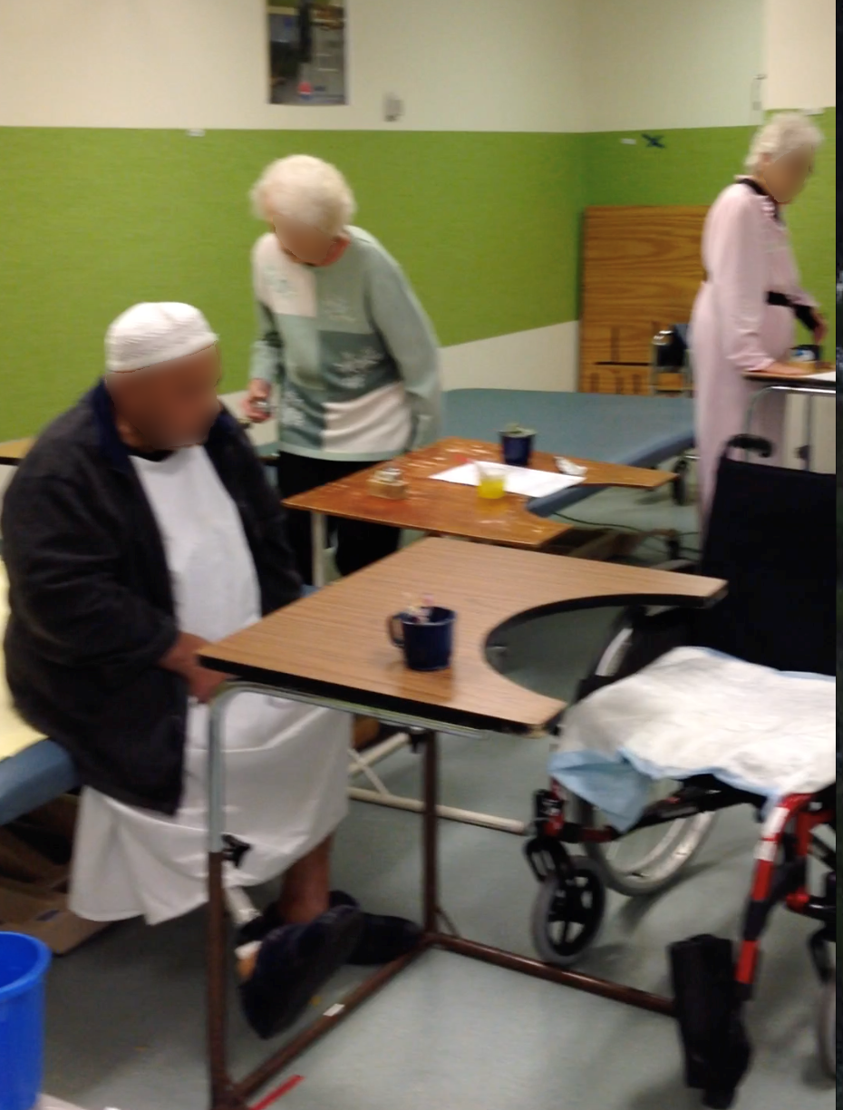 Three people practising sit to stand and standing exercises