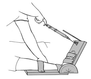 Figure 1. Using a spring balance to measure wrist and finger range of motion